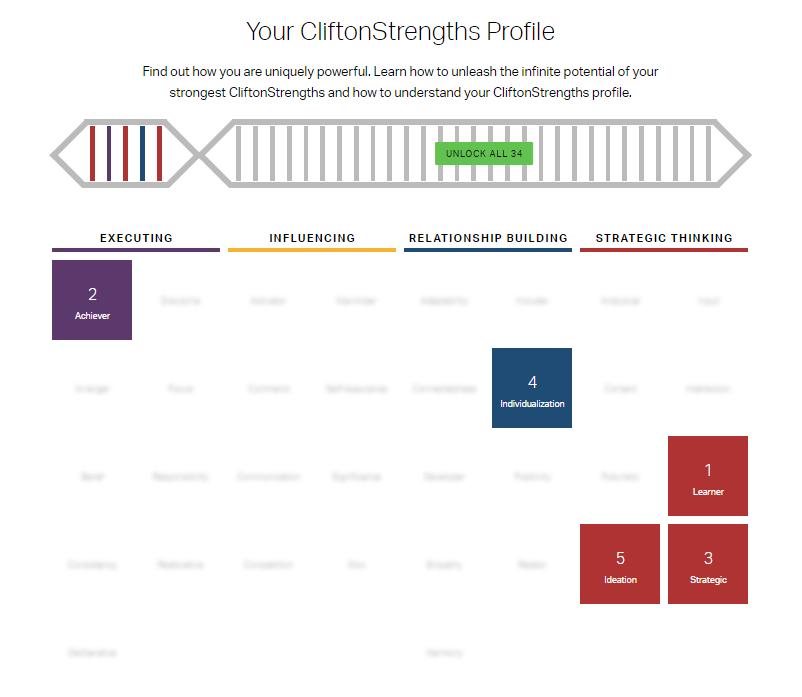 Clifton Strengths visual - Amanda