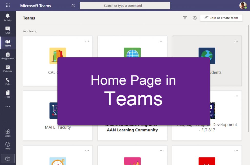 Amanda's home page in Teams - screenshot