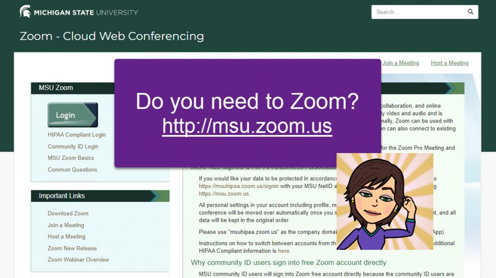 Zoom screenshot with avatar